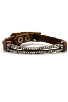 Narrow rectangular open frame set with crystals, 1/4? wide leather strap with buckle closure, antique brass finish. Wear every day and looks great with multiple bracelets.   Rebel Bracelet by Locust Whimsy. Accessories - Jewelry - Bracelets New Jersey