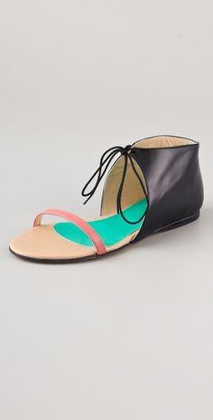 tibi stella colorblock flat sandals