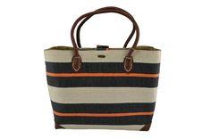 363da944d0 Striped Natural Straw Tote - Navy Thick Stripe - Orange Pin Stripe - Faux  Leather Handles