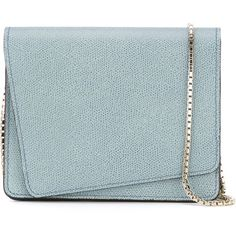 Valextra Asymmetric Flap Crossbody Bag (2,760 PEN) ❤ liked on Polyvore featuring bags, handbags, shoulder bags, green, leather cross body purse, leather shoulder bag, genuine leather handbags, green leather handbag y blue shoulder bag