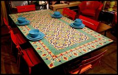 Home decor Mexican tiles. Tiled Dining Table Best Stenciled Dining Table Ideas On Mosaic . Round Outdoor Dining Table, Patio Dining, Dining Room Table, Dining Chairs, Stenciled Dining Table, Dining Table Design, Mosaic Patio Table, Patio Tiles, Mosaic Table Tops