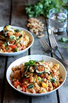 Curried Zucchini, Chicken and Goat Cheese Rolls with Cashew Mango Fried Rice