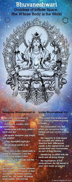 Mythology + Religion: Bhuvaneshwari, Hindu Goddess of Infinite Space (She Whose Body Is The World) Wicca, Spiritus, Sacred Feminine, Hindu Deities, Mystique, Hindu Art, Indian Gods, Tantra, Gods And Goddesses