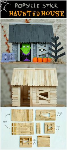 How To Make A Popsicle Stick Haunted House diy craft halloween crafts how to tutorials halloween decorations halloween crafts halloween diy halloween decor crafts for kids Casa Halloween, Theme Halloween, Easy Halloween Crafts, Halloween Activities, Haunted Halloween, Halloween Treats, Paper Halloween, Halloween For Kids, Haloween Craft