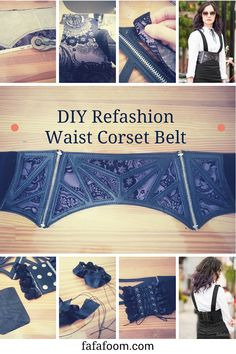 DIY Refashion Waist Corset Belt with Interchangeable Fabrics