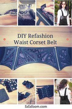 DIY Refashion Waist Corset Belt with Interchangeable Fabrics