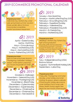 The 2019 ecommerce promotional calendar is here! Including key sales dates + sales tips that no merchants want to miss. June Calendar Printable, Menu Calendar, Weekly Calendar Template, Holiday Calendar, School Calendar, Christian Calendar, Christian School, School Holidays, Ecommerce