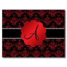 Monogram red glitter damask postcard