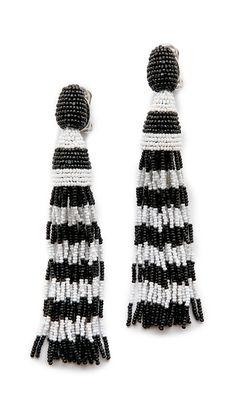 Oscar de la Renta Striped Tassel Earrings