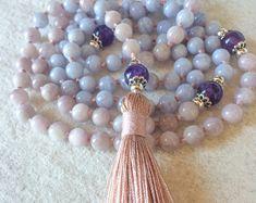 Kunzite Blue Lace Agate Mala Necklace, 108 Mala Beads, Meditation Mala, Yoga Jewelry, Buddhist Mala Prayer Beads, Heart & Throat Chakra Mala