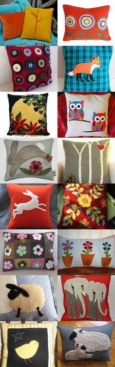 Cool Wool Pillows by Michelle Boswell on Etsy--Pinned with TreasuryPin.com featuring my Sunny Hearts and Hot Flowers Applique Felted Wool with Plaid Wool Pillow Backing, Size 14 x 14 Pillow, Applique Pillow, Wool Heart Applique