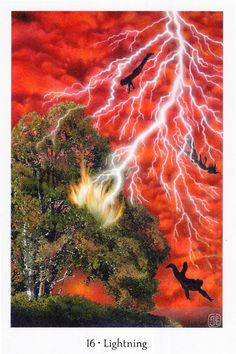"""XVI.The Tower - Gaian Tarot by Joanna Powell Colbert  """"Lightning strikes a tree and lights it on fire as a thunderstorm rages. Three figures fall out of the sky, as if in a dream. When lightning strikes, there is an increase of ozone in the atmosphere, which cleanses the air. In the same way, the aftermath of a calamity can bring about renewal in our lives."""""""