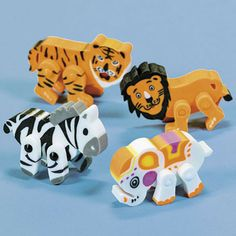 """Movable Zoo Animal Erasers . Let these animal themed rubber erasers """"walk"""" all over your homework! A safari of fun with zebra, tiger, elephant and lion shapes, they'll make fun favors at a jungle. safari, circus or zoo-themed birthday party. Great idea for loot bags or treat boxes.  approx. 5.08 cm"""