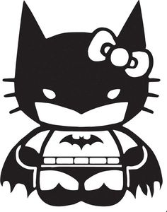 Hello Kitty Batman Decal-- picture idea for chys birthday party since she is asking for both hello kitty and batman
