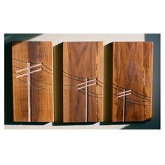 Items similar to Dave Marcoullier Designs - Wood Routing (Power Poles Triptych) - Walnut on Etsy Dremel Projects, Wood Projects, Woodworking Projects, Wood Crafts, Diy And Crafts, Renegade Craft Fair, Got Wood, Triptych, Wood Design