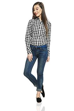 Ester Bodysuit Shirt Blouse Top Plaid Checkered Check Long Sleeve Button Up Women By Nothing But Love (8, black and white). Bodysuit blouse for women, girls, ladies with casual street style top and panties-shaped jersey bottom. The checkered top is crafted from tight non-stretchy cotton fabric with uneven texture. Lower part is made of smooth elastic fabric. The regular fit button up cotton shirts are perfect for casual wear, active life, sport events, holidays, picnics, office. The bodysuit…