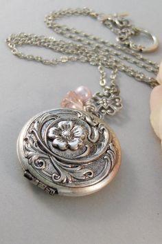 Blushing Locket,Locket,Silver Locket,Flower,Pink,Blush,Antique Locket,Floral,Jewelry. Handmade jewelry by valleygirldesigns.