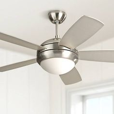 "44"" Monte Carlo Discus II Brushed Steel Ceiling Fan - #3R333 | Lamps Plus"
