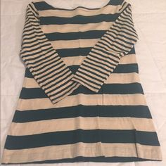 Casual 3/4 sleeved top by LOFT Casual cotton 3/4 sleeved cream and green striped top. Excellent condition. Size xs. LOFT Tops