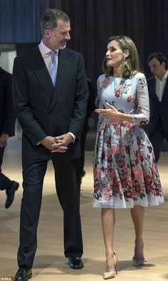 Queen Letizia, 45, looked radiant in a pretty blue dress on an official engagement with he...