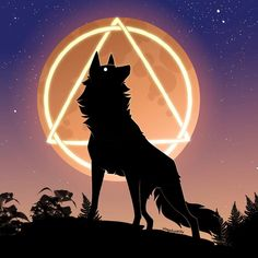 Black Wolf and Moon by All About Wolves, Muy Simple, Forms Of Communication, Wolf T Shirt, Nocturnal Animals, Wolf Moon, Werewolf, Character Inspiration, Illusions