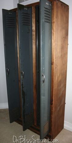 old industrial lockers with custom wood frame.