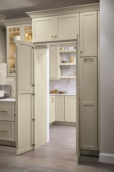 Is a walk-in pantry at the top of your kitchen renovation wish list? The pantry … Is a walk-in pantry at the top of your kitchen remodel wish list? The Pantry Walk Through Cabinet allows you to maintain design cohesion with full-height cabinet doors that Kitchen Pantry Design, Kitchen Cabinet Organization, Kitchen Decor, Organization Ideas, Kitchen Ideas, Cabinet Ideas, Kitchen Inspiration, Kitchen Hacks, Rustic Kitchen