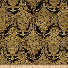 Also comes in cream   Holiday Flourish Metallic Damask Antique Black from @fabricdotcom  Designed by Peggy Toole for Robert Kaufman, this cotton print fabric is perfect for quilting, apparel and home decor accents. Colors include black, cream and gold. Features gold metallic accents throughout.