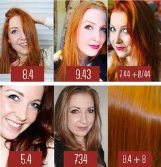 #CabelosRuivos: Alguns tons de ruivo que já usei: 8.4, 9.43, 7.44, 5.4, 734 e 8.4 + 8.