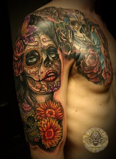 ~Sugar Skull Girl~ Amazing detail, you get what you pay for.....I don't remember if I already pinned this but I love it!  I want a sugar skull tattoo!