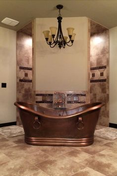 Rustic bathroom, hammered copper tub in front of a corner walk through shower. Like the idea of a corner shower - could work for the French house Modern Farmhouse Bathroom, Rustic Bathrooms, Dream Bathrooms, Beautiful Bathrooms, Spa Bathrooms, Parisian Bathroom, Neutral Bathroom, Master Bathrooms, Downstairs Bathroom