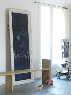 "Large chalkboard display- wall mount or lean against wall from floor.  Nod to ""old school."""