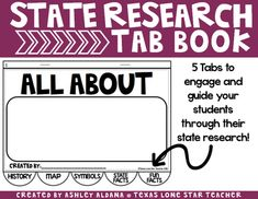 State Research Tab Book Elementary School Library, Elementary Schools, 3rd Grade Social Studies, Create A Timeline, State Mottos, Major Events, Teacher Newsletter, Research, Teacher Pay Teachers