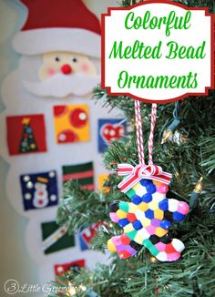 Best Diy Crafts Ideas Melted Bead Ornaments are a perfect Christmas Activity for Kids! It's a simple Christmas craft made from supplies you might even have already in your craft stash. -Read More – Christmas Projects For Kids, Christmas Activities For Kids, Easy Christmas Crafts, Simple Christmas, Crafts For Kids, Diy Crafts, Christmas Ideas, Christmas Tree, Decor Crafts