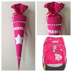 Schultüte aus Stoff mit einfachem Stern passend zum Ergobag in Pink und Weiß