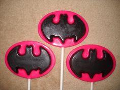 1 chocolate super hero batman batgirl logo favors lollipops lollipop   sapphirechocolates - Edibles on ArtFire