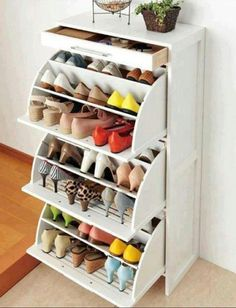 Efficient shoe storage. Turn a cheap or old dresser into shoe storage with a few minor adjustments! You know this is a FAB idea!