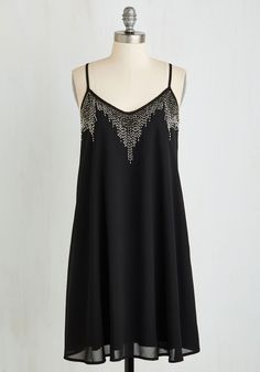 Sensational Shimmer Dress - Mid-length, Woven, Black, Solid, Beads, Party, Girls Night Out, Shift, Spaghetti Straps, Good, LBD