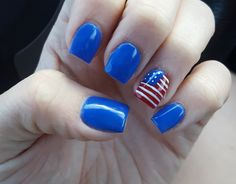 Fourth of July nails! Red, white, and blue  acrylic overlay