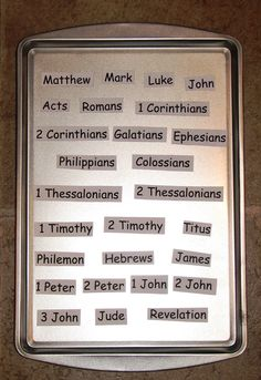 Activities with Books of the Bible ~ cookie sheet and books on magnetic strips. Great idea, will be a while before I can use it for Nate