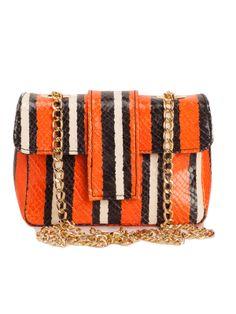 Carpena Elda | Paris Orange Stripes Python Leather Bag | GIRISSIMA.COM