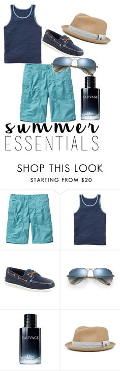 """""""Men's Summer Essentials"""" by kandice-marie157 ❤ liked on Polyvore featuring Gap, Sperry, Ray-Ban, Christian Dior, rag & bone, men's fashion, menswear and summermenswearessentials"""