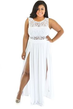 Plus Size Lace Top Maxi Dress