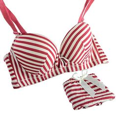 db123aa20c ROPALIA Womens Charm Sexy Padded Striped Underwear Push Up Bra and Panty Set    Find out