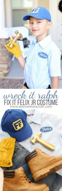 Easy DIY Fix It Felix Jr Halloween Costume from Disney Wreck It Ralph