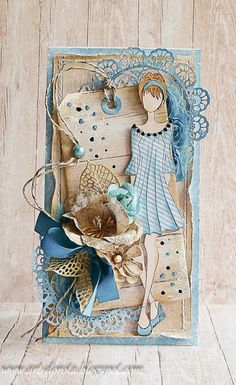 Dorota_mk, Card with lady and flowers