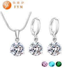 Silver-Plated Necklace Stud Earring Jewelry Set