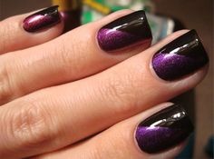 20 Easy & Simple Black Nail Art Designs, Supplies & Galleries For Beginners Nail Art Designs, Purple Nail Designs, Winter Nail Designs, Black And Purple Nails, Black Nail Art, Black Nails, Purple Glitter, Chloe Nails, Tape Nail Art