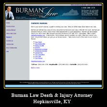 My Web Design Clients: Burman Law Death & Injury Attorney. Hopkinsville, Kentucky. http://www.burmanlaw.com/