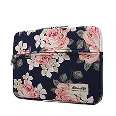 Canvaslife White Rose Pattern 13 inch Canvas laptop sleeve with pocket 13 inch 13.3 inch laptop case macbook air 13 case macbook pro 13 sleeve; #ad {aff.link}